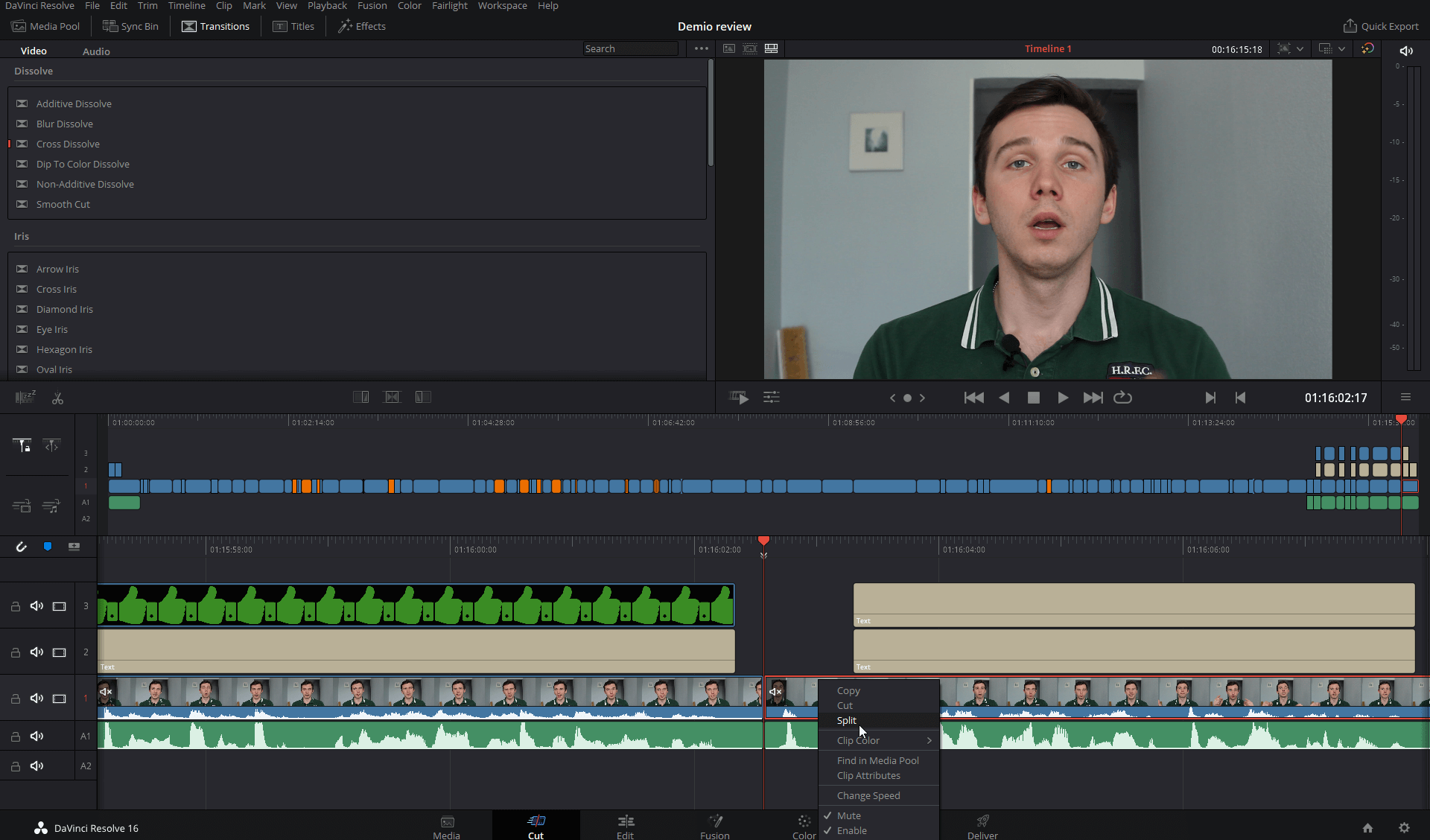 editing a webinar video with davinci resolve 16