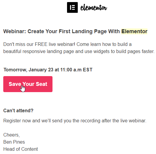 Example of product demo webinar sign-up e-mail by Elementor