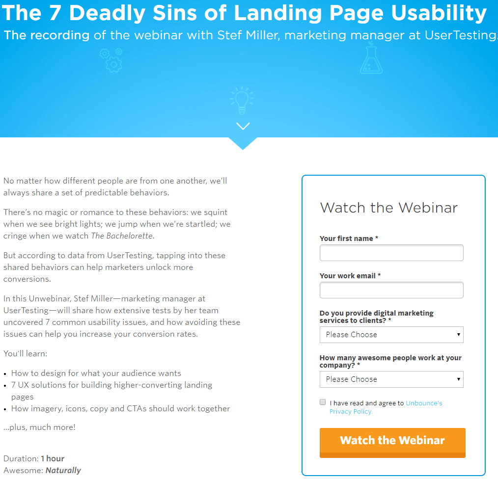 Example of webinar sign-up by Unbounce for Lead Generation