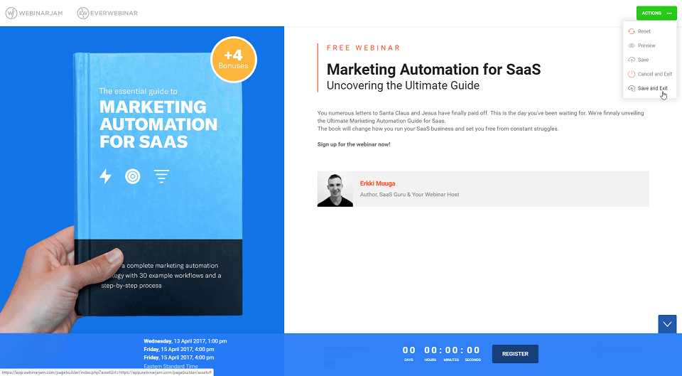 Example of a customized Webinar Landing page template