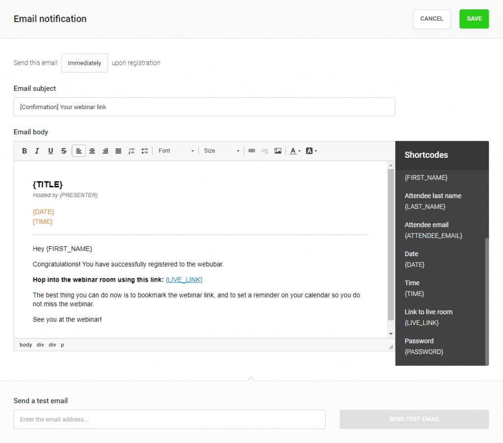 WebinarJam email customizer tool