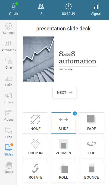 WebinarJam slide presentation controls for host