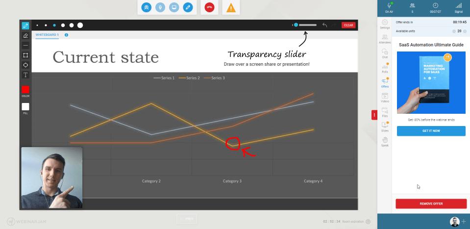 How the WebinarJam live interface looks like for the host