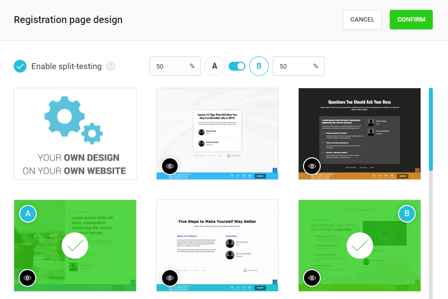 WebinarJam 2 landing page templates selected for split testing