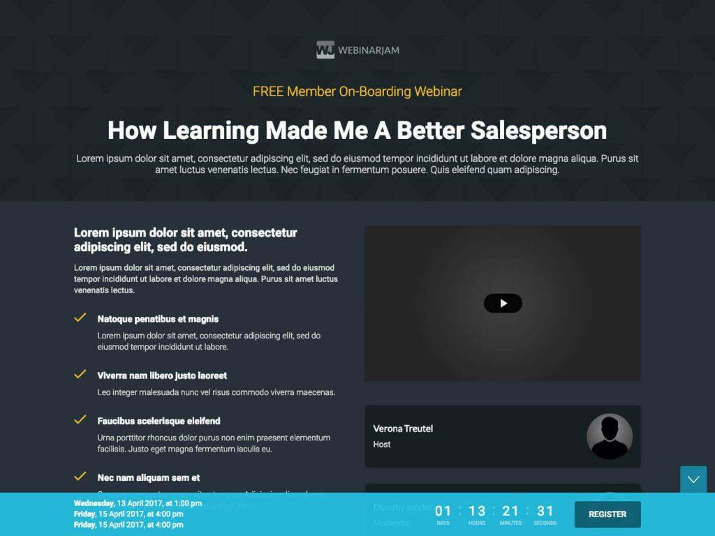 WebinarJam Landing Page template 8