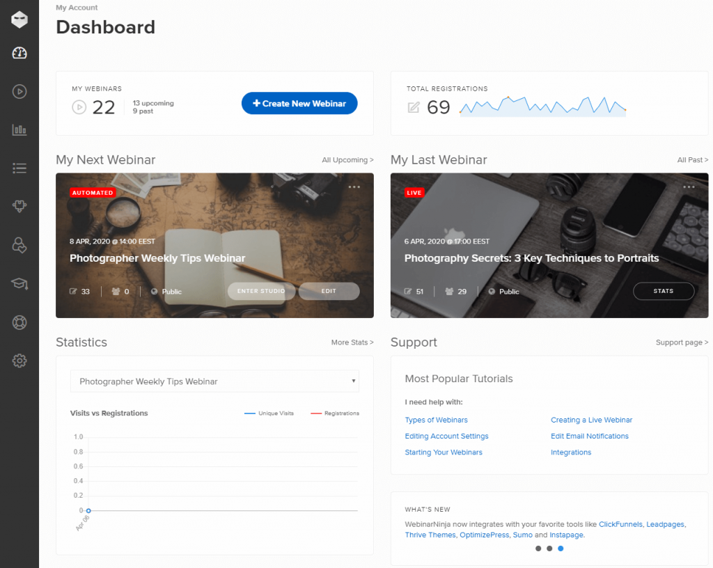 WebinarNinja dashboard image
