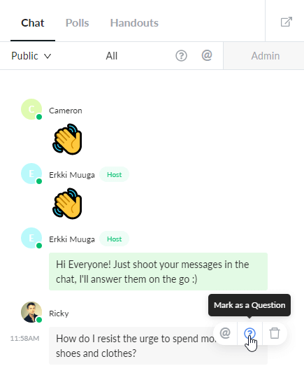 Marking Chat Messages as Questions