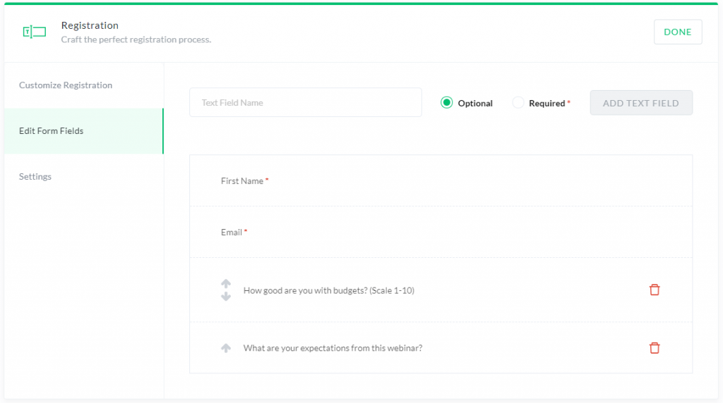 Custom form fields on the Registration Page