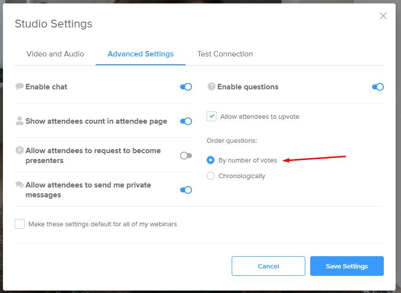 Q&A priority settings