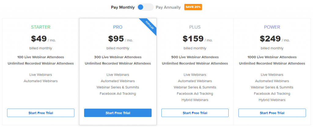 WebinarNinja pricing