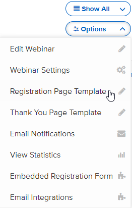 Webinar options dropdown