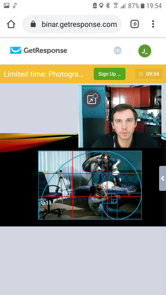 GetResponse mobile attendee webcam and slides