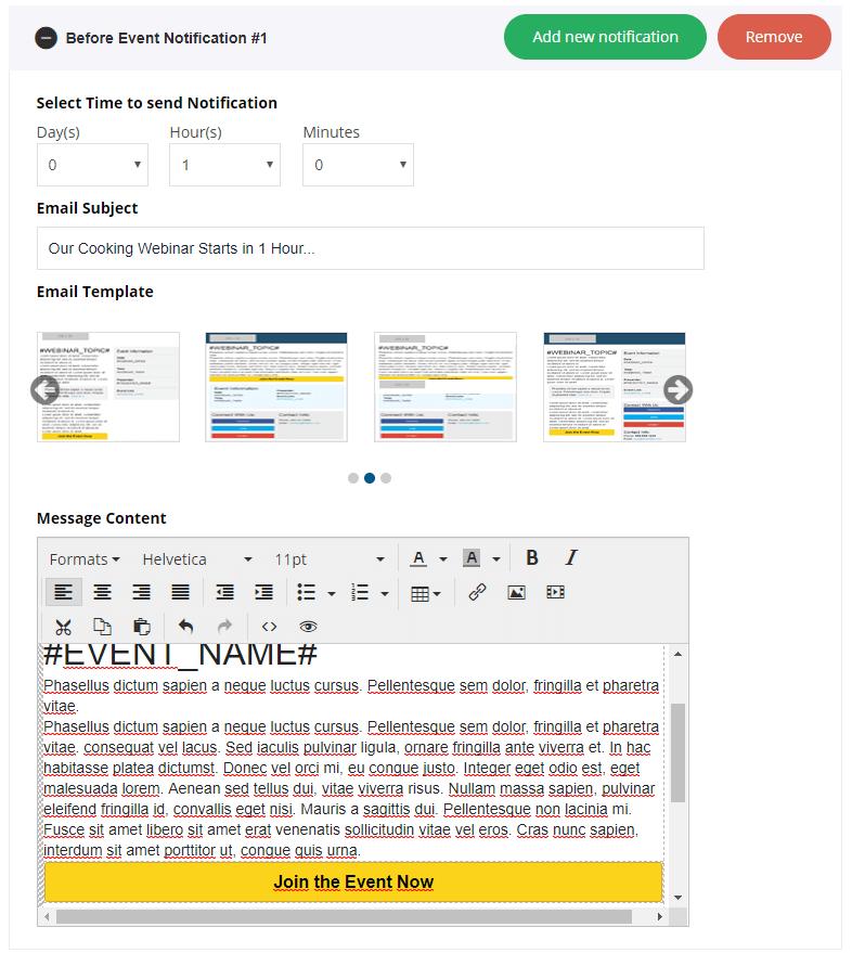 EasyWebinar email editor