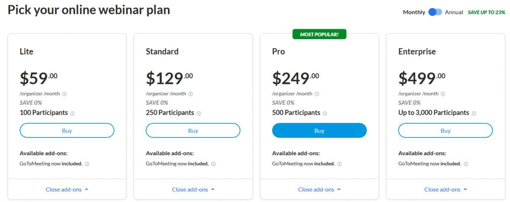 GoToWebinar pricing