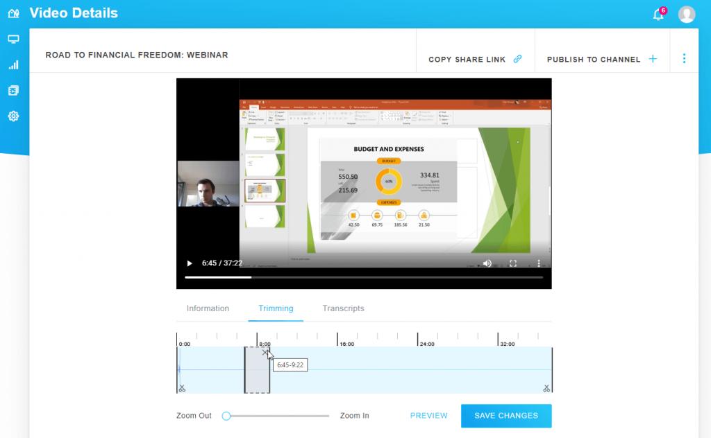 GoToWebinar trim video