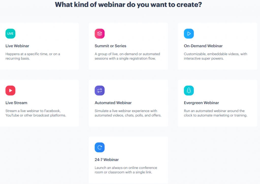 BigMarker webinar types