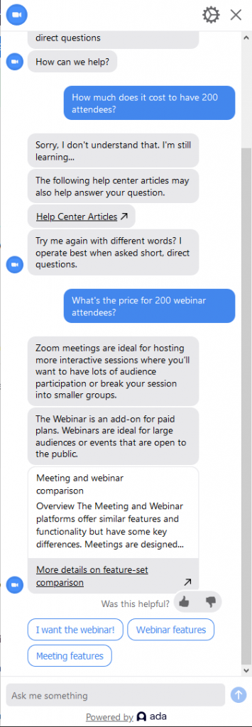 Zoom chat bot