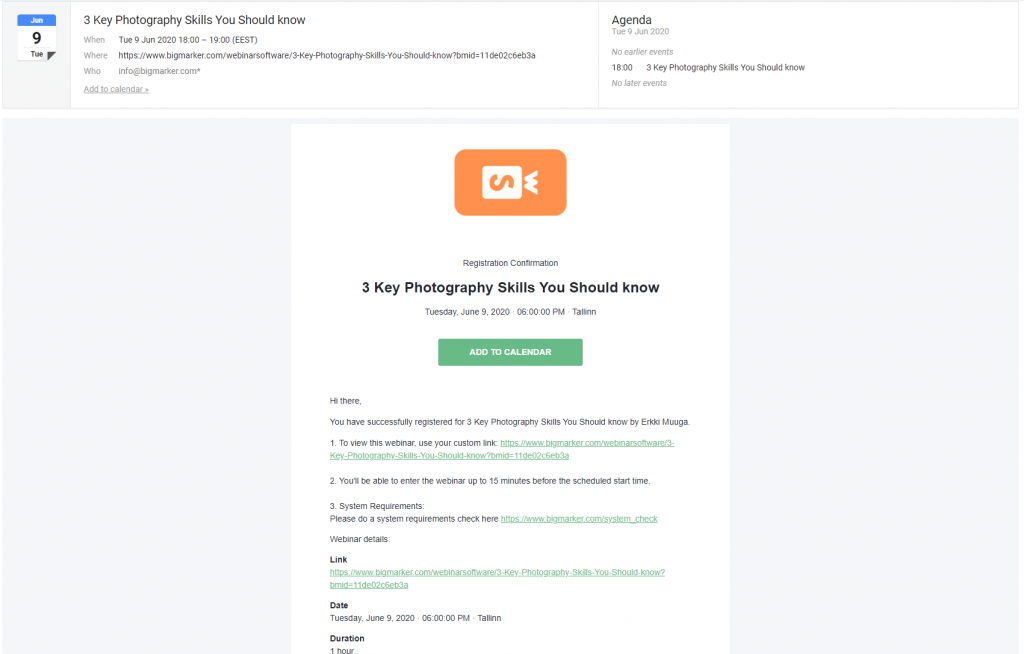 BigMarker webinar reminder email example