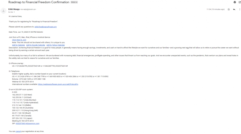 Registration confirmation email example
