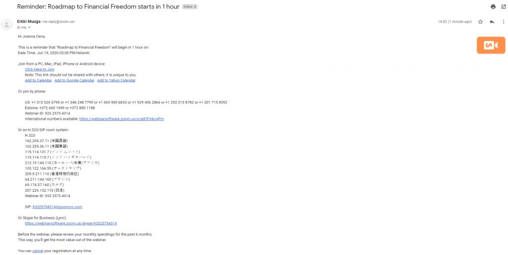 Zoom Webinar email example