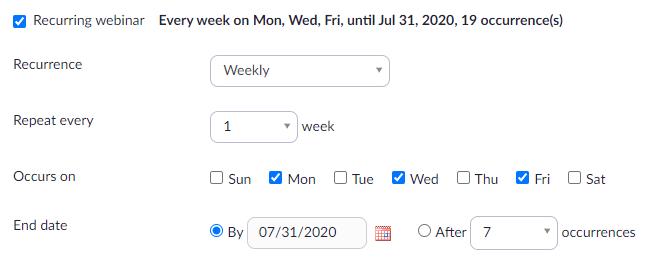 Recurring webinars on Zoom