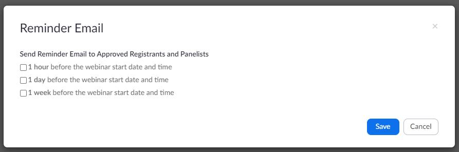 Zoom webinar email reminder options