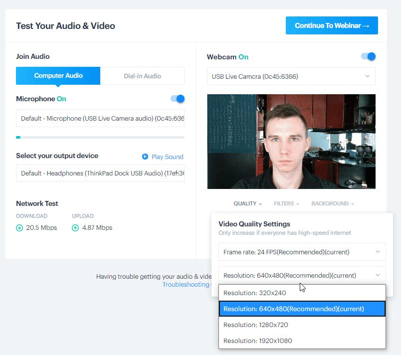 BigMarker webcam video quality options