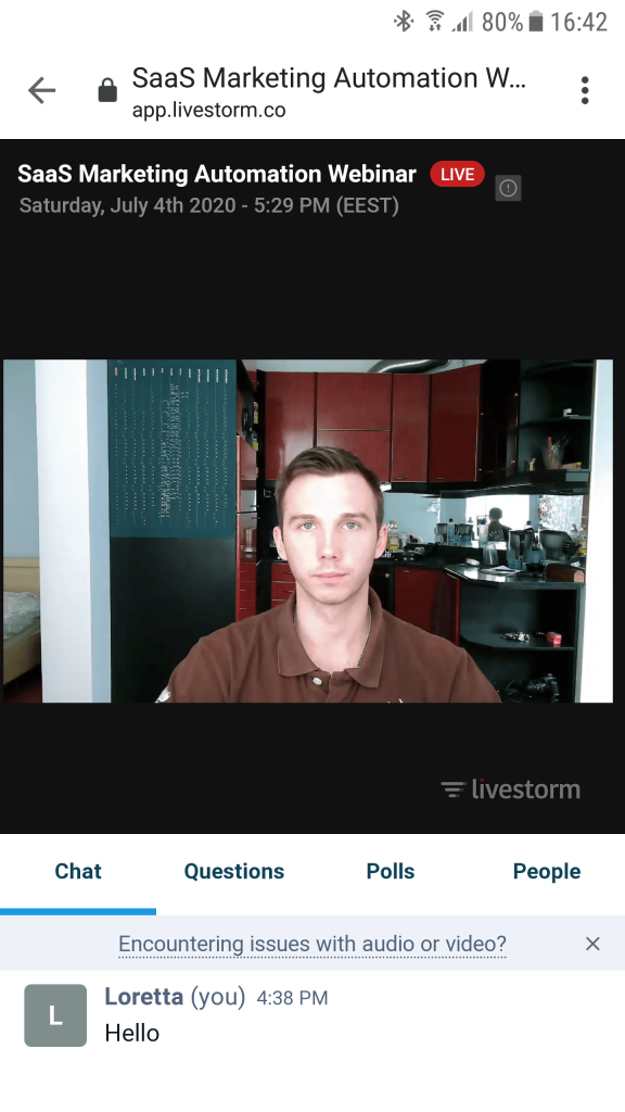 Livestorm on Android - webcam