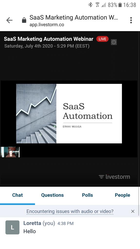 Livestorm on Android - slideshow + webcam