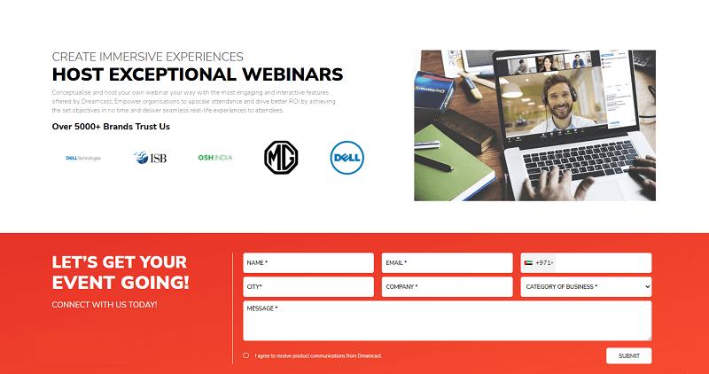 DreamCast webinar registration page
