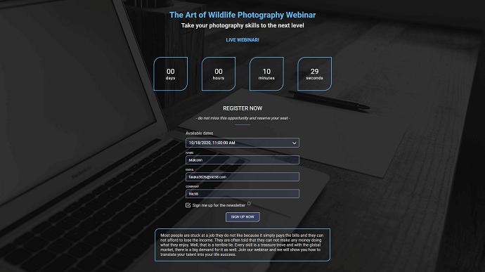 ElasticWebinar Registration Page