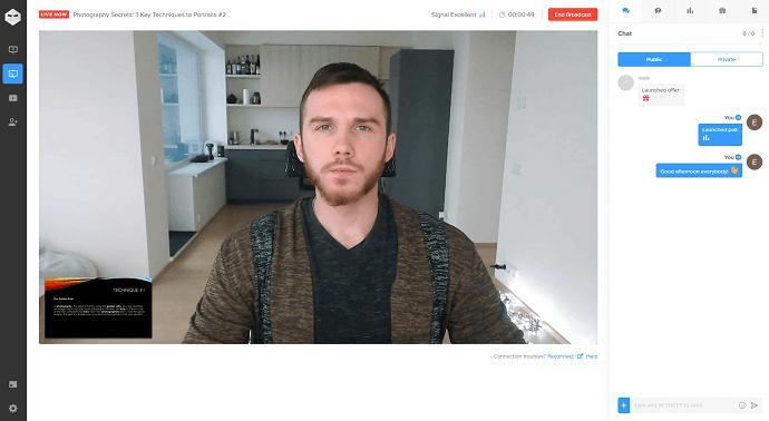 WebinarNinja live webinar room