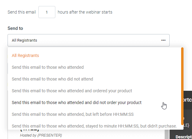 EverWebinar follow-up email segmentation options