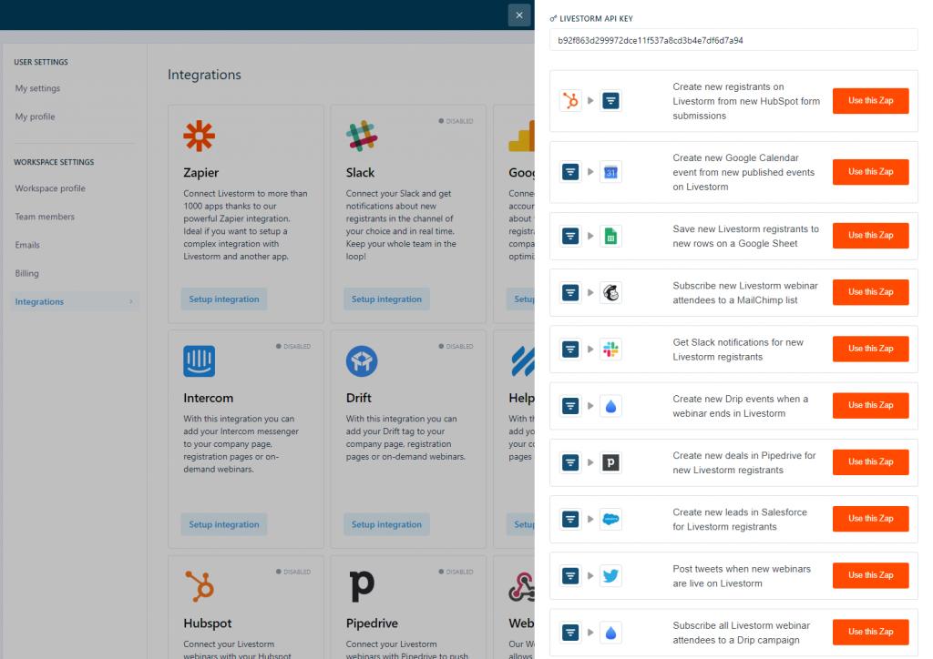 Livestorm + Zapier integrations