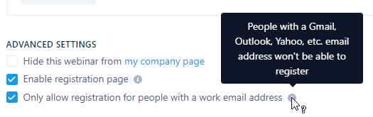 Company emails only