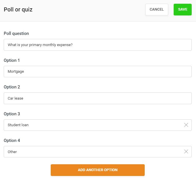 EverWebinar poll setup