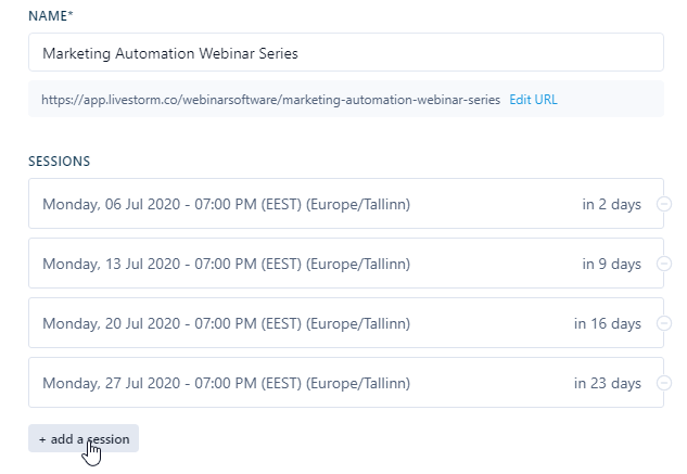 Recurring webinar sessions