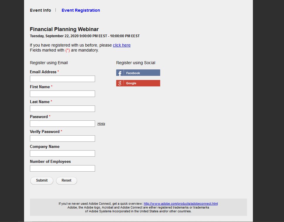 Adobe Connect registration form
