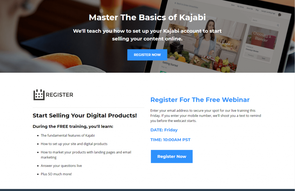Kajabi registration page