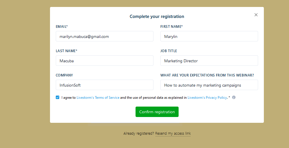Registration form pop-up