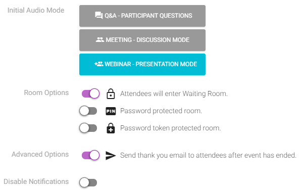 Advanced webinar settings