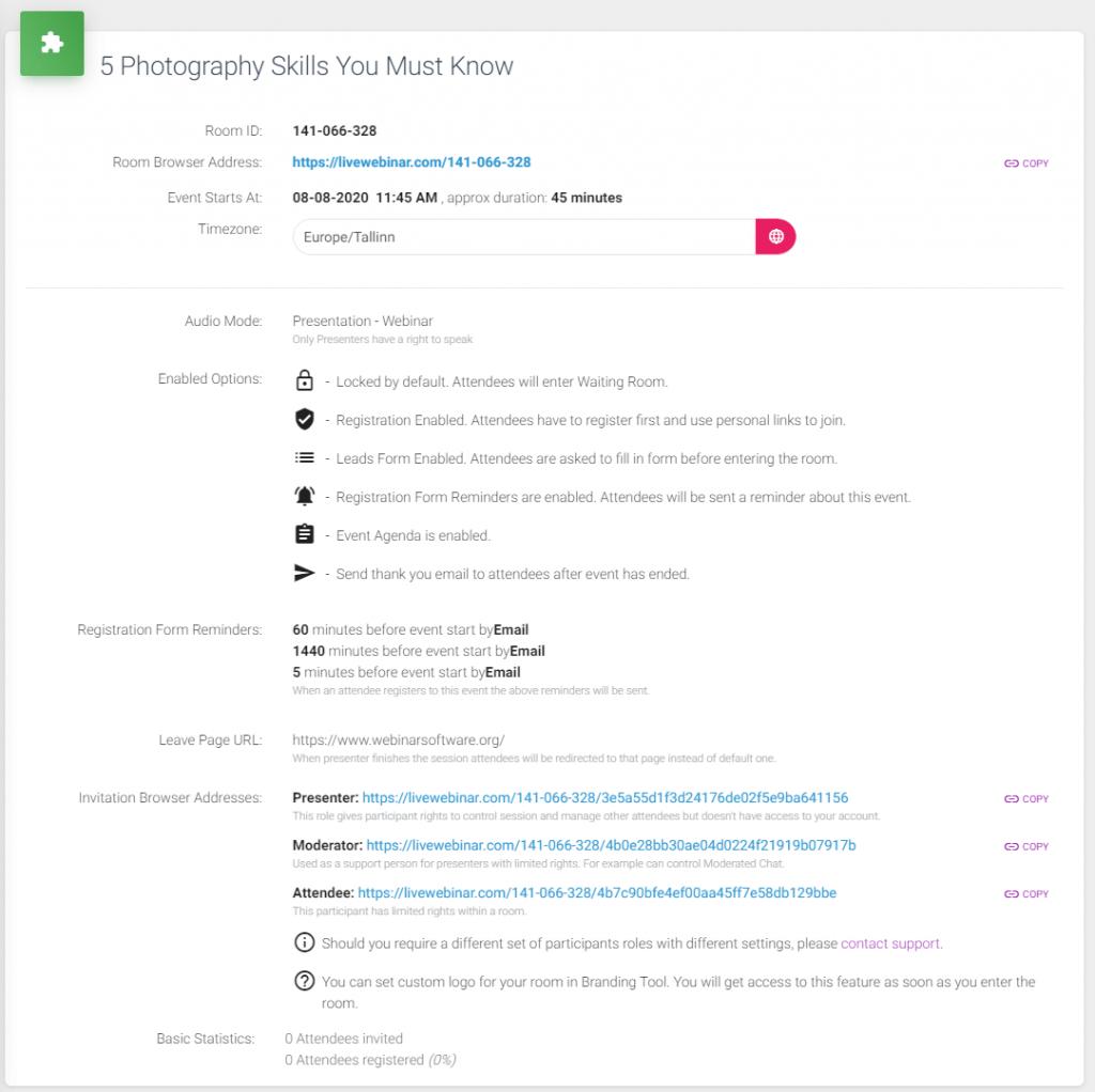 LiveWebinar event overview