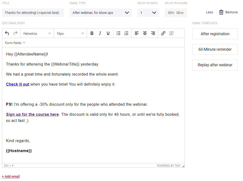 Email followup editor