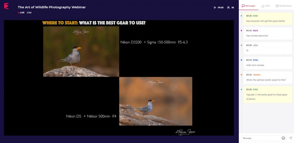 ElasticWebinar Live webinar room