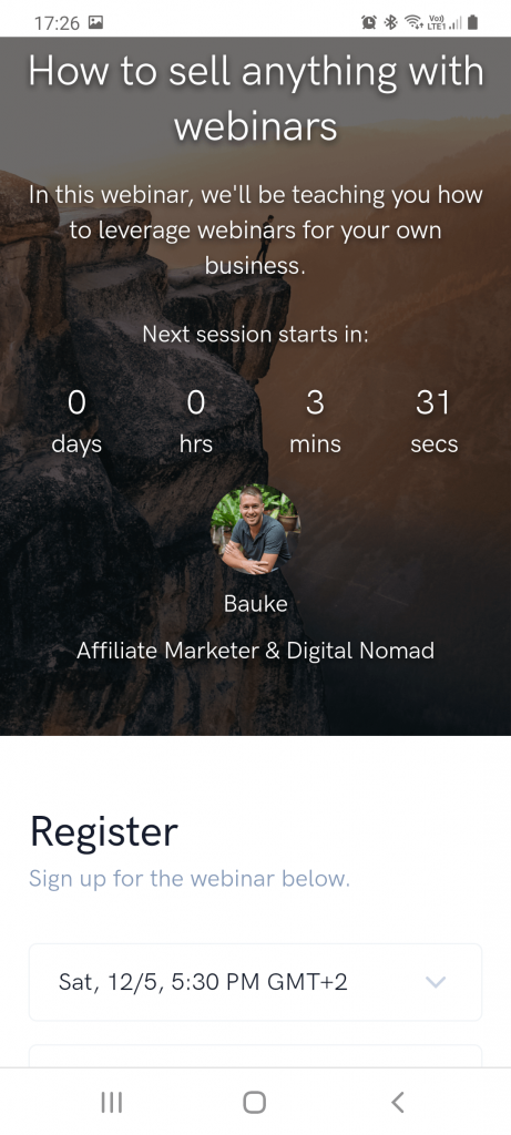 WebinarKit registration page on mobile