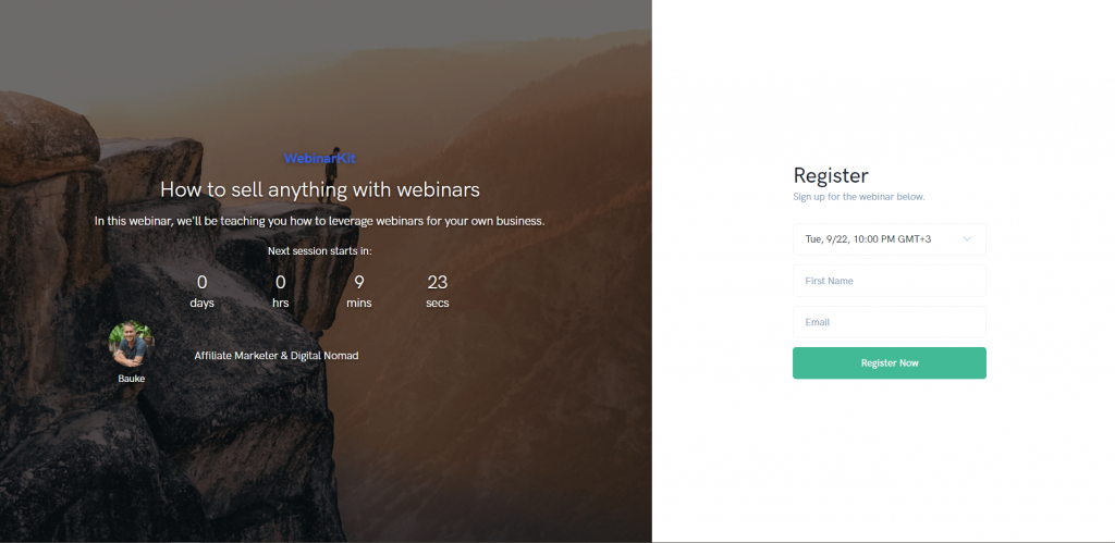 WebinarKit designed registration page