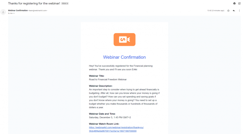WebinarKit email confirmation example